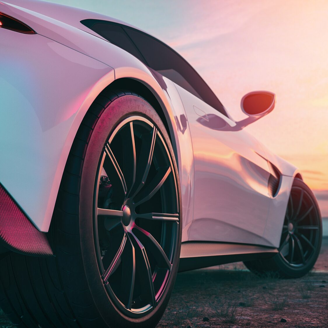 The image in back of the sports car scene behind as the sun going down with in the back. 3d rendering and illustration.